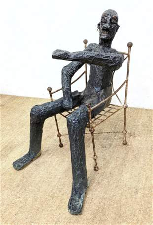 Large Tacked Metal Sculpture of Seated Figure. Chair no