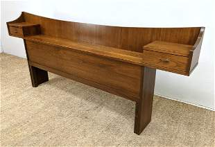 American Modern Walnut Headboard Bed with Compartment s