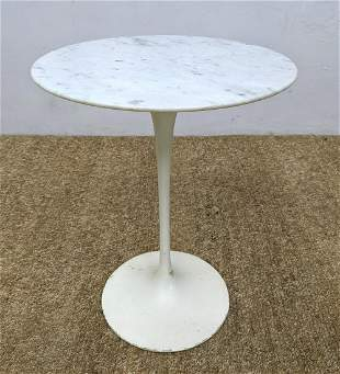 Marble Top EERO SAARINEN Tulip Side Table. White base.