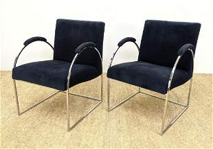 Pr Modernist Chrome Frame Lounge Chairs. Chrome Tube Fr