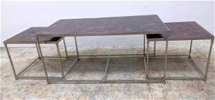 3 Pc Nesting Coffee table set with pieced veneer top.