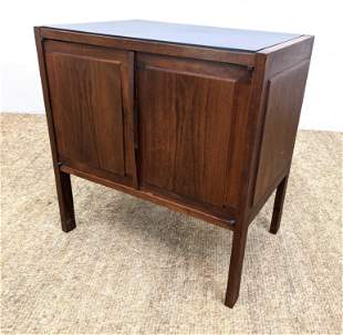 American Modern Walnut Side Table Cabinet. Paneled Doo