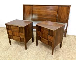 3pc EDMUND SPENCE Bedroom Furniture. Night Stands Head