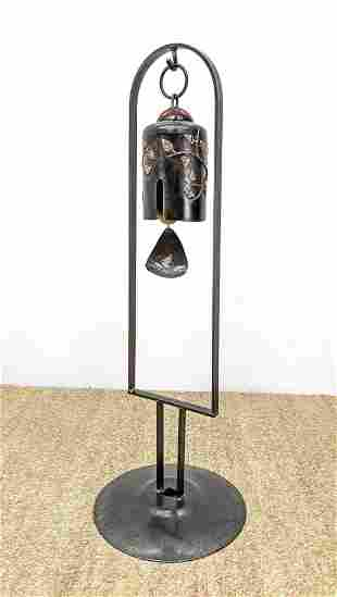 EDWARD KIDERA Brutalist Iron Bell Gong on Stand.