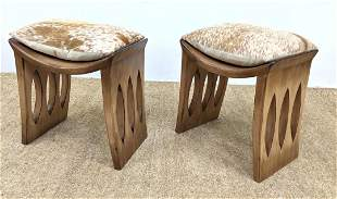 Pr Modernist Wood Stool Benches. Almond cut out designs