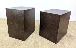 Pair Laminate Cube Pedestal Tables. 2 Different Heights