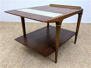 LANE Modern Walnut Side Table. Inset Tiles on Top Tier.