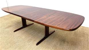Modernist Rosewood Double Pedestal Dining Table. Two 20