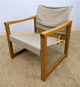 Canvas Sling and Safari Chair. Wood Frame Lounge Chair.