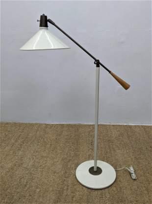 Modernist Enamel Cone Shade Floor Lamp. Adjustable Arm.