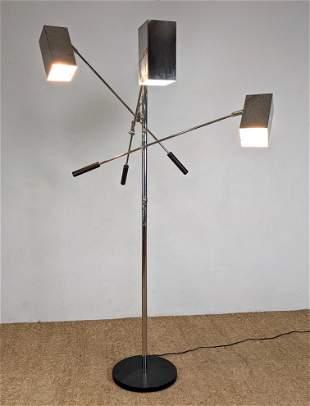 SONNEMAN Chrome Three Arm Floor Lamp with Square Shades