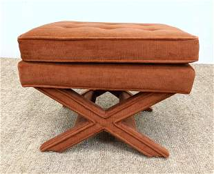 Billy Baldwin style Fully Upholstered Bench Stool. Tuft