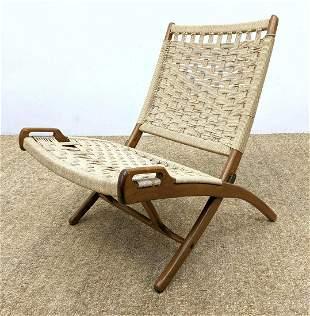 Hans Wegner style Woven Rope Folding Lounge Chair. Wood