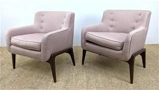 Pair Mid Century Modern Arm Lounge Chairs.