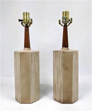 Pr Pottery Modernist table Lamps. Glazed octagonal colu