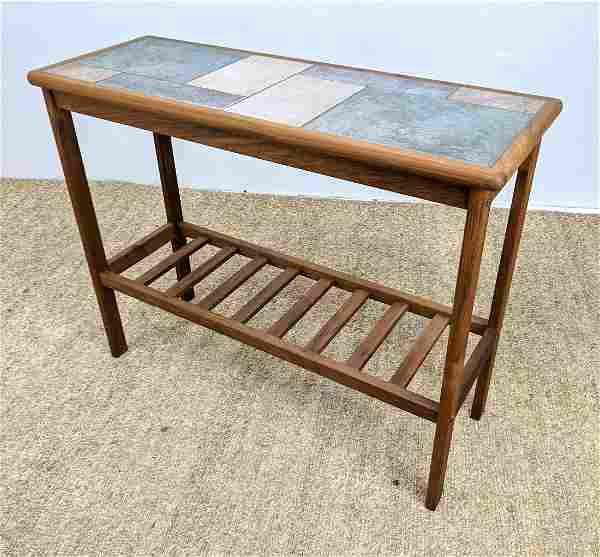Danish Modern Teak TOFTEN Hall Console Table. Inlaid Ti