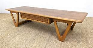 LANE Banded Top Coffee Cocktail Table. Raised on two pa