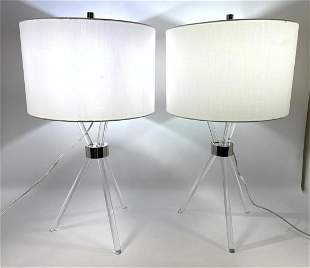 Pair Contemporary Lucite Acrylic Table Lamps.