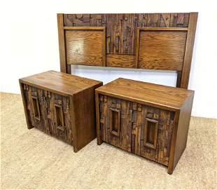 3pcs Paul Evans Style Brutalist Bedroom Furniture. Head