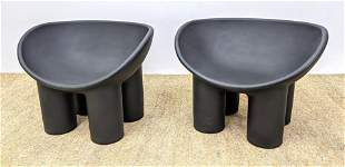 Pr Roly Poly Molded Plastic Lounge Chairs. Dark bowed s