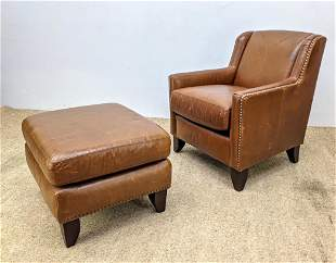BERNHARDT Leather Lounge Chair and Ottoman. Studded des