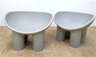 Pr Roly Poly Molded Plastic Lounge Chairs. Gray bowed s