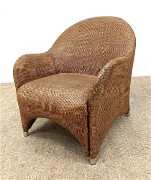 """Sculpted Rattan Chair made in Italy with 1/4"""" Steel cap"""