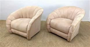 Pair swivel lounge Pair Art Deco Style Upholstered Loun