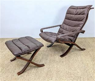 2pc WESTNOFA Leather Lounge Chair and Ottoman. Ingmar R