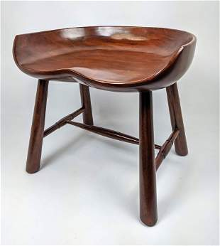 SCULLY & SCULLY Modernist Wood Stool. Fitted form seat