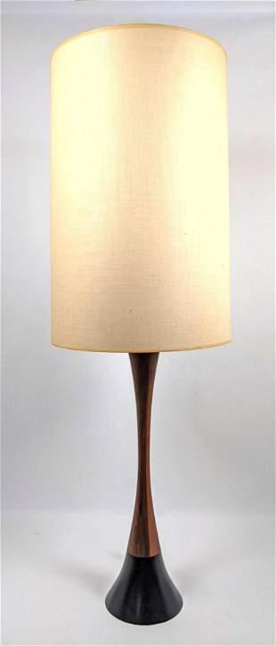 Elegant Metal and Walnut Modernist Table Lamp.