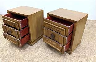 Pair James Mont Style Side End Tables.
