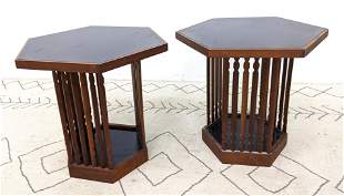 Pair American Modern Side Occasional Tables. Black Lami
