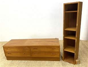 2pc Danish Teak Storage. Low Four Drawer Credenza Chest