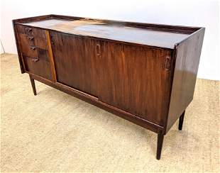 Dark Stained Modernist Credenza Sideboard. Raised on Le