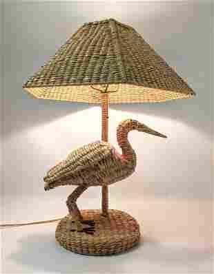 Beach Shore style Table Lamp. Marine Bird Design. Woven