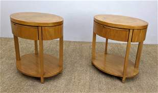 Pair BAKER Oval Side End Tables with 1 Drawer. Inlaid T