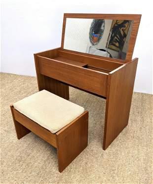 Danish Teak Modern Vanity and Bench. Flip top opens to