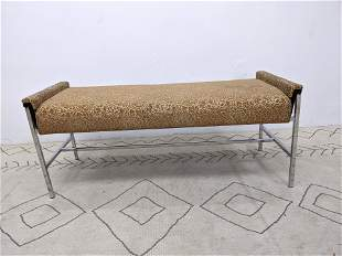 Decorator Designer Bench. Chrome Wood and Upholstery.