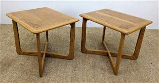 Pr LANE American Modern Oak Side Tables. Modernist ban