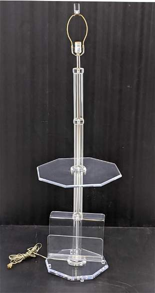 70s Modern Lucite Lamp Table w Magazine Rack.