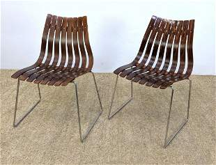 Pair HOVE MOBLER Rosewood Slat Side Chairs. Chrome rod