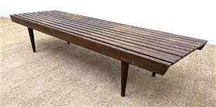 Modernist Wood Slat Bench Coffee Table. Tapered peg leg
