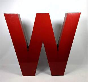 """Red Enamel Paint Letter """"W"""" . or....... """"M"""". Can hang"""