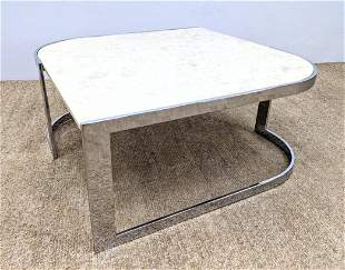 Mid Century Modern Chrome and Composite Coffee Table.