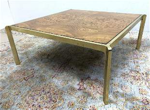 Large Decorator Coffee Cocktail Table. Burl Wood Top In