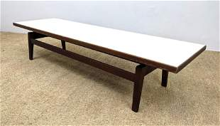 JENS RISOM Long Bench Coffee Table. White laminate top