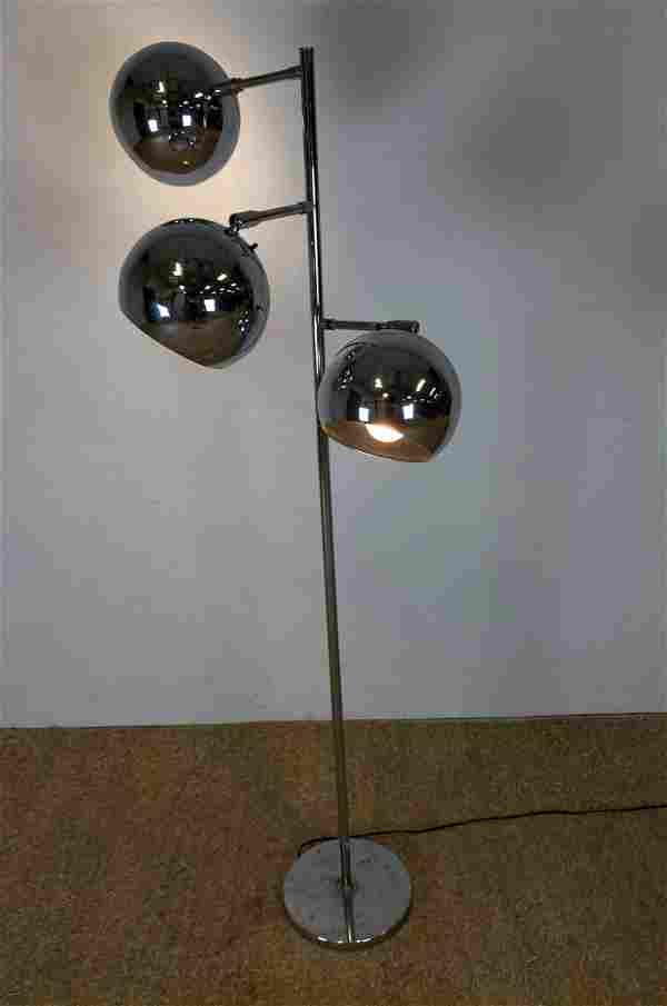 Mid Century Modern Chrome 3 Ball Shade Floor Lamp.