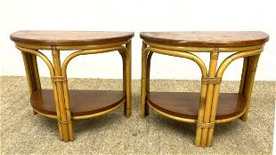 Pr Demi Lune Miami Modern Bamboo Side Tables. Wrapped b