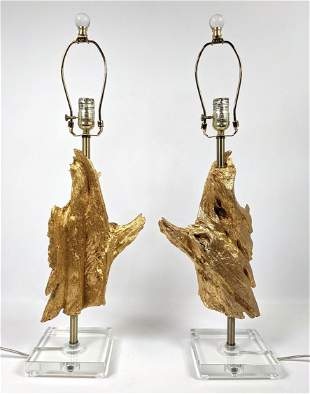 Pr Gold Painted Twisted Tree Wood Table lamps. Lucite b